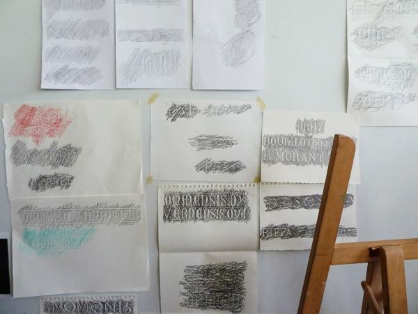 Gravures lapidaires, première partie du workshop - par Sarah